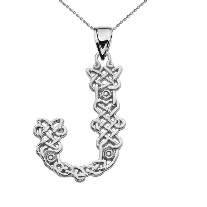 """J"" Initial In Celtic Knot Pattern Sterling Silver Pendant Necklace"