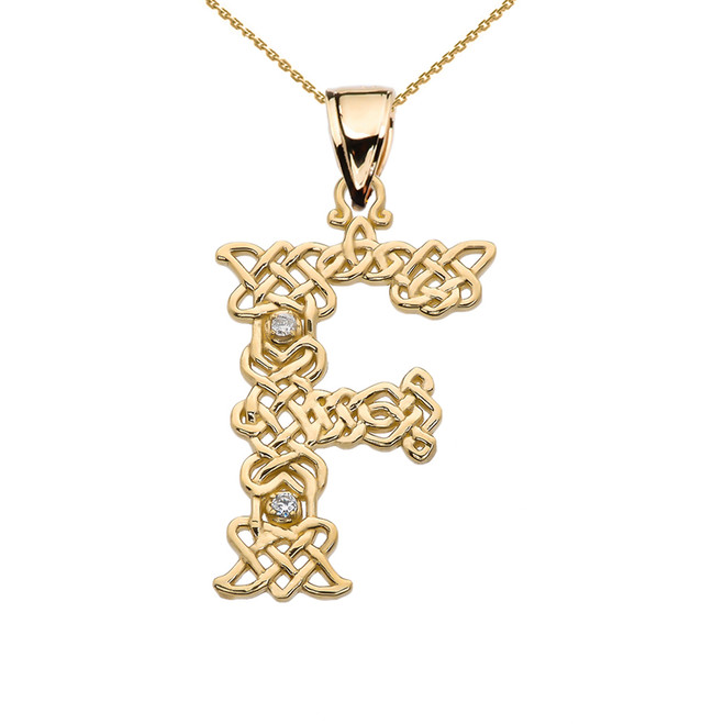 """""""F"""" Initial In Celtic Knot Pattern Yellow Gold Pendant Necklace With Diamond"""