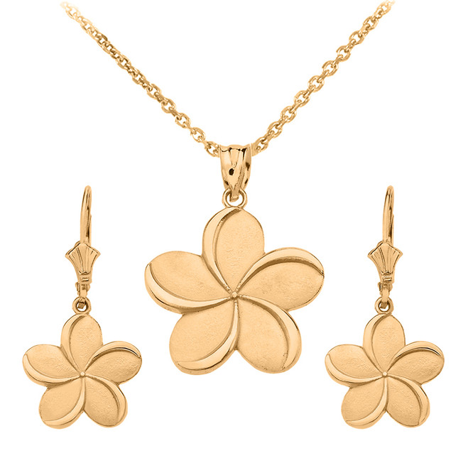 14K Yellow Gold Hawaiian Plumeria Flower Necklace Earring Set