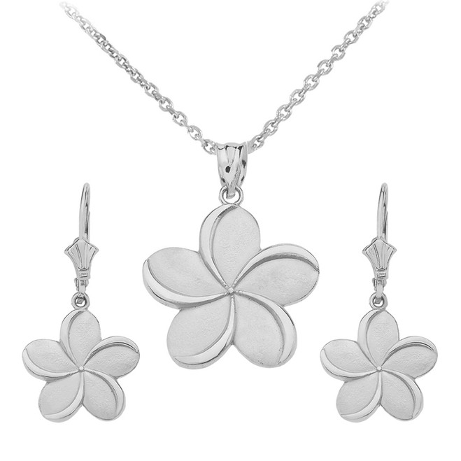 Sterling Silver Hawaiian Plumeria Flower Necklace Earring Set