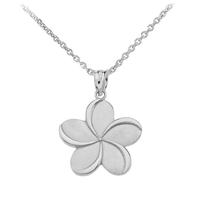 Sterling Silver   Hawaiian Plumeria Flower Pendant Necklace