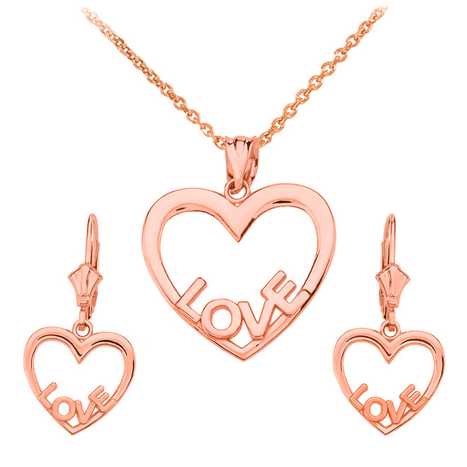14K Rose Gold Love Heart Necklace Earring Set