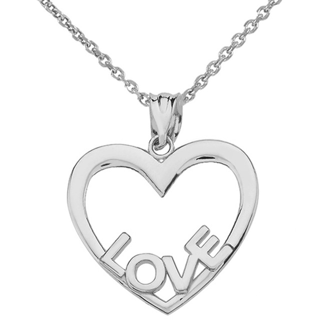 Sterling Silver Love Heart Pendant Necklace