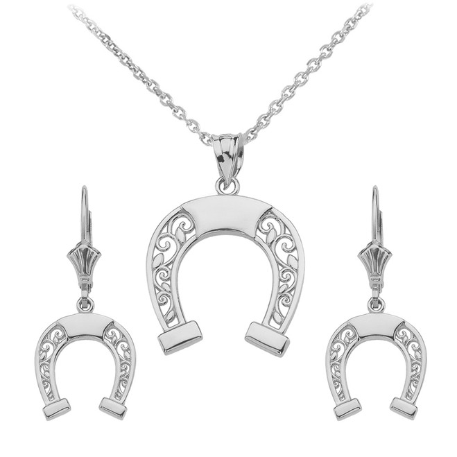 14K White Gold Filigree Horseshoe Necklace Earring Set
