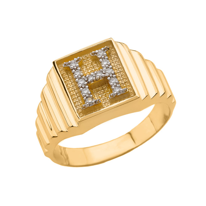 Yellow Gold Diamond Initial H  Ring