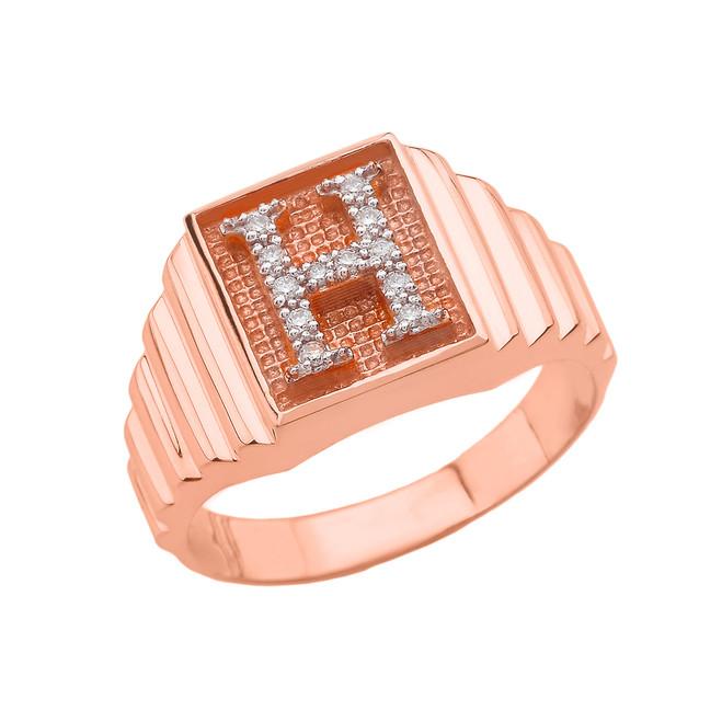 Rose Gold Diamond Initial H  Ring