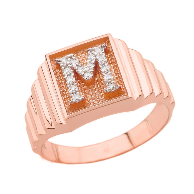 Rose Gold Diamond Initial M Ring