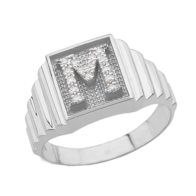 Sterling Silver Diamond Initial M Ring