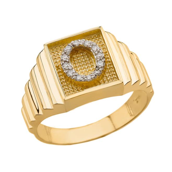 Yellow Gold Diamond Initial O Ring