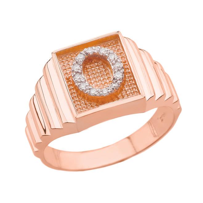 Rose Gold Diamond Initial O Ring