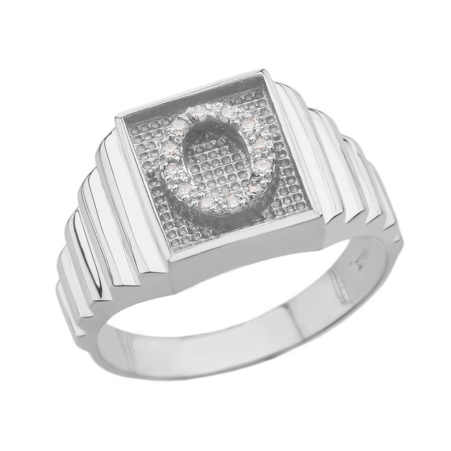 White Gold Diamond Initial O Ring