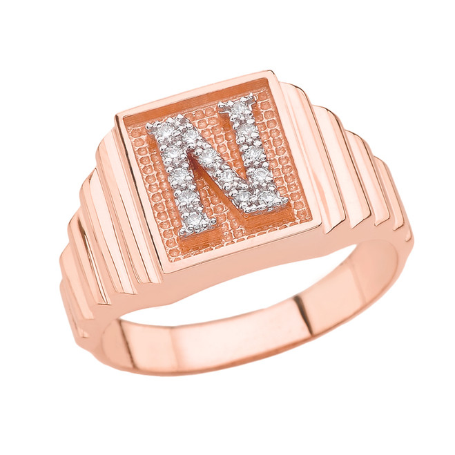 Rose Gold Diamond Initial N Ring