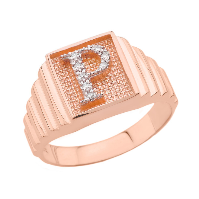 Rose Gold Diamond Initial P Ring