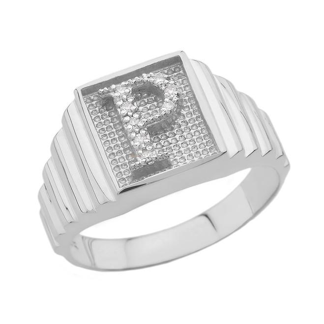 White Gold Diamond Initial P Ring