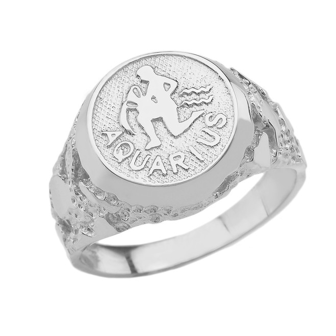 Sterling Silver Aquarius Zodiac Sign Nugget Ring