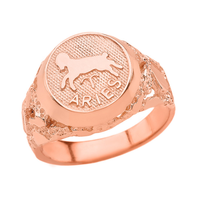 Rose Gold Aries Zodiac Sign Nugget Ring