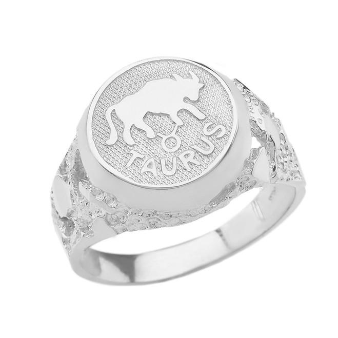 White Gold Taurus Zodiac Sign Nugget Ring