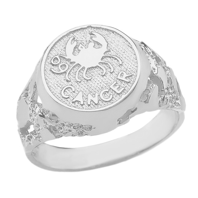 White Gold Cancer Zodiac Sign Nugget Ring