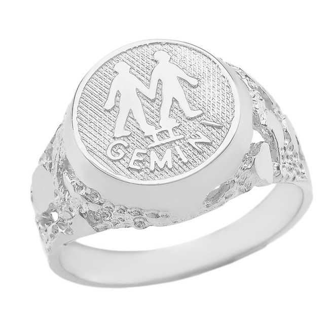 White Gold Gemini Zodiac Sign Nugget Ring