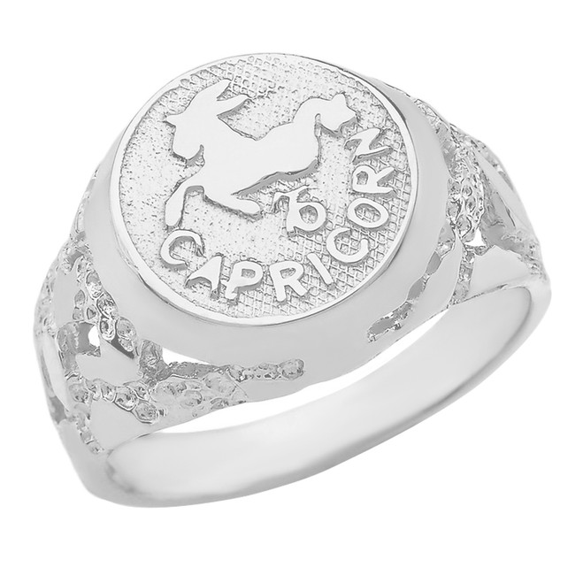 Sterling Silver Capricorn Zodiac Sign Nugget Ring