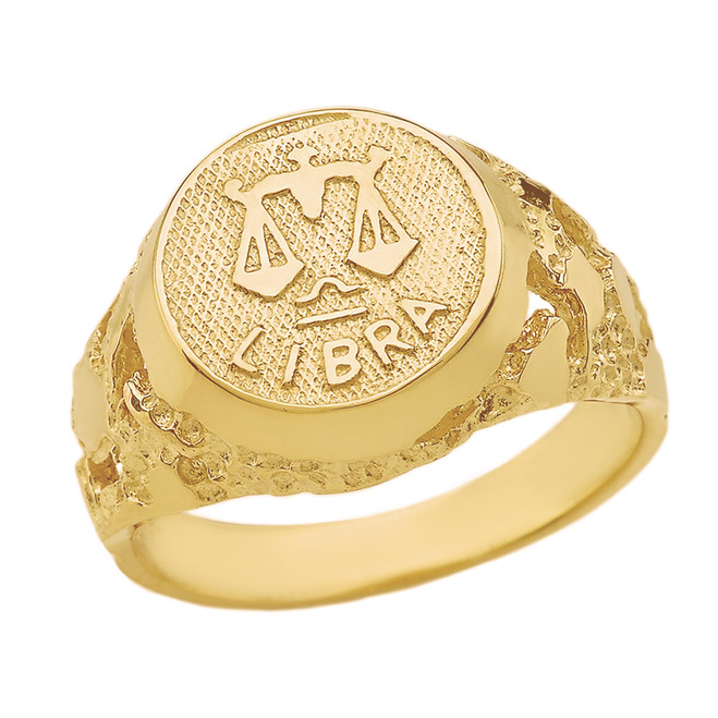 Yellow Gold Libra Zodiac Sign Nugget Ring