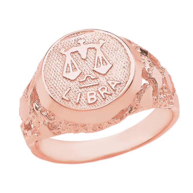 Rose Gold Libra Zodiac Sign Nugget Ring