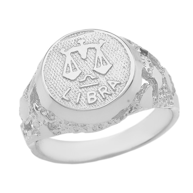 Sterling Silver Libra Zodiac Sign Nugget Ring