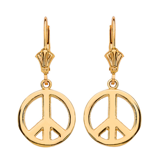 14K Yellow Gold Boho Peace Sign Earrings
