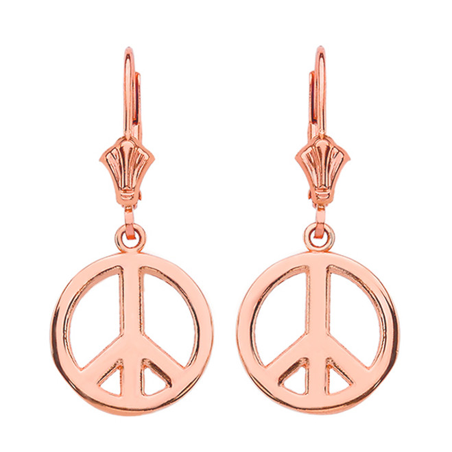 14K Rose Gold Boho Peace Sign Earrings