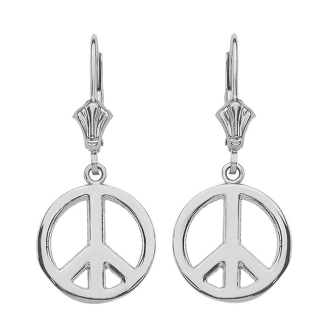 Sterling Silver Boho Peace Sign Earrings