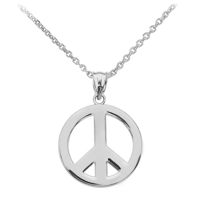 White Gold Boho Peace Sign Pendant Necklace