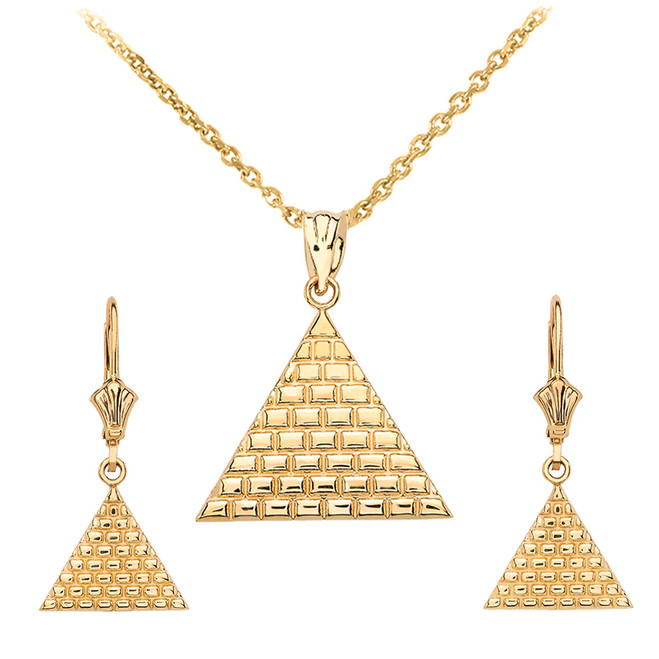 14K Yellow Gold Egyptian Pyramid Triangle Necklace Earring Set