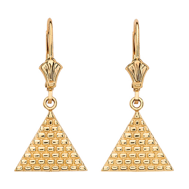 14K Yellow Gold Egyptian Pyramid Triangle Earrings