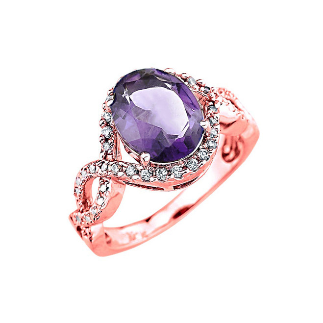 Rose Gold (LCA) Alexandrite and Diamond Infinity Engagement Ring
