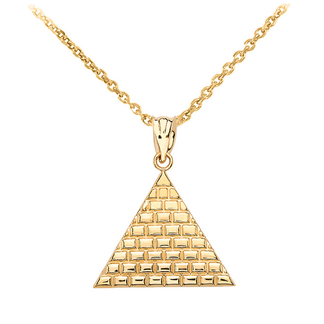 Yellow Gold Egyptian Pyramid Triangle Pendant Necklace