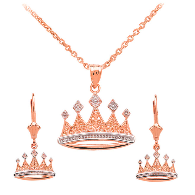 14K Rose Gold Royal Crown Necklace Earring Set
