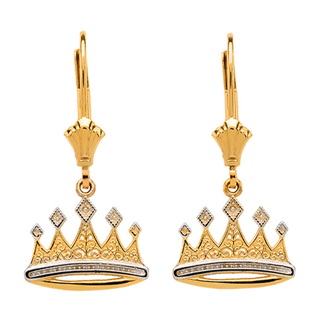 14K Yellow Gold Royal Crown Earrings