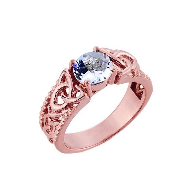 Rose Gold Celtic Knot Aquamarine Gemstone Ring