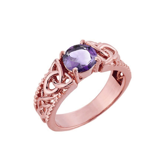 Rose Gold Celtic Knot (LCA) Alexandrite Gemstone Ring