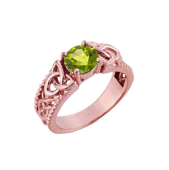 Rose Gold Celtic Knot Peridot Gemstone Ring