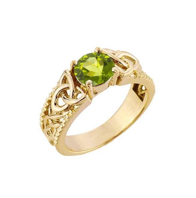 Yellow Gold Celtic Knot Peridot Gemstone Ring