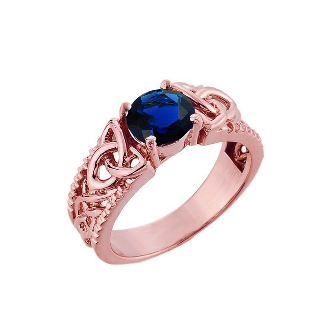 Rose Gold Celtic Knot (LCS) Sapphire Gemstone Ring