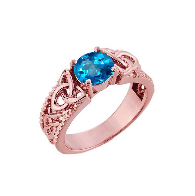 Rose Gold Celtic Knot Blue Topaz Gemstone Ring
