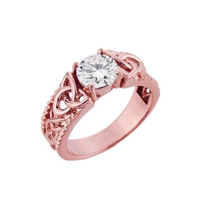 Rose Gold Celtic Knot White Topaz Gemstone Ring