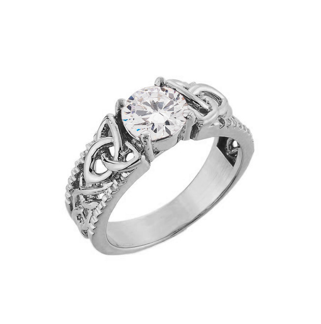 White Gold Celtic Knot White Topaz Gemstone Ring