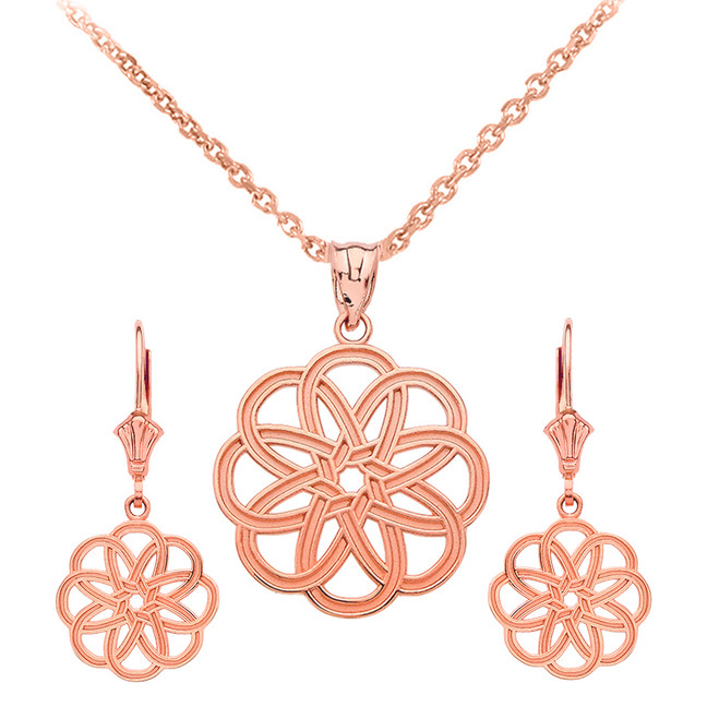 14K Rose Gold Celtic Knot Round Flower Necklace Earring Set