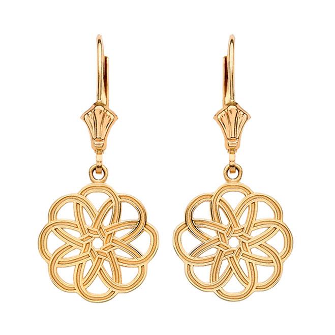 14K Yellow Gold Celtic Knot Round Flower Earrings