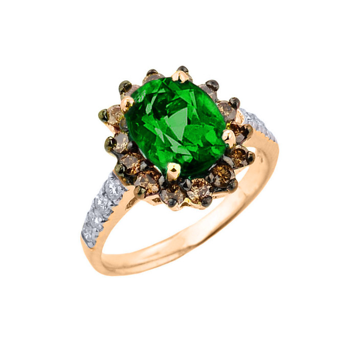 Yellow Gold Diamond And Emerald (LCE) Birthstone Proposal Ring