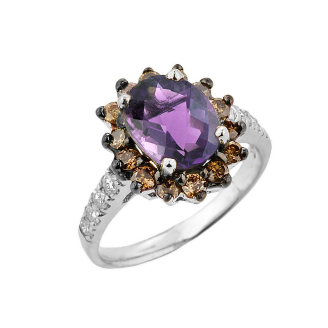 White Gold Diamond And Alexandrite (LCA) Birthstone Proposal Ring