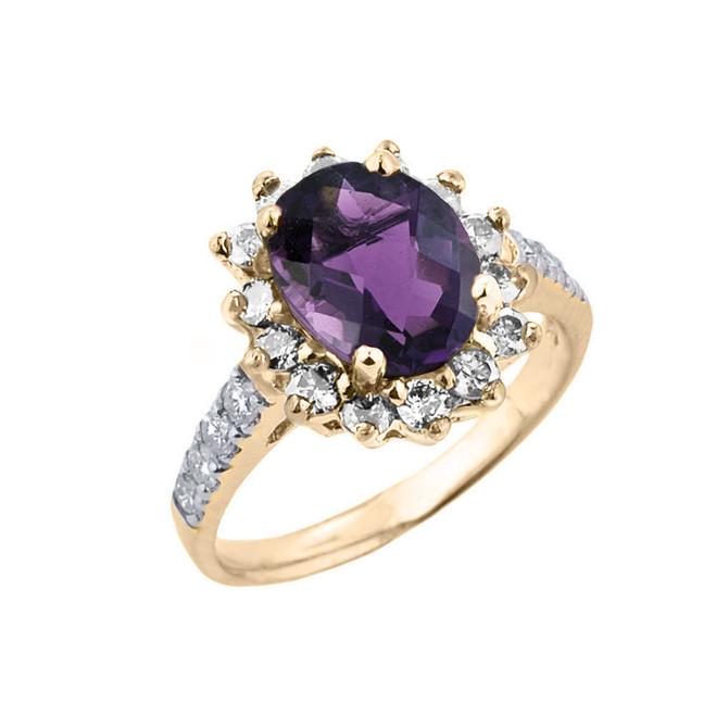 Yellow Gold Diamond And Alexandrite (LCA) June Birthstone Proposal Ring